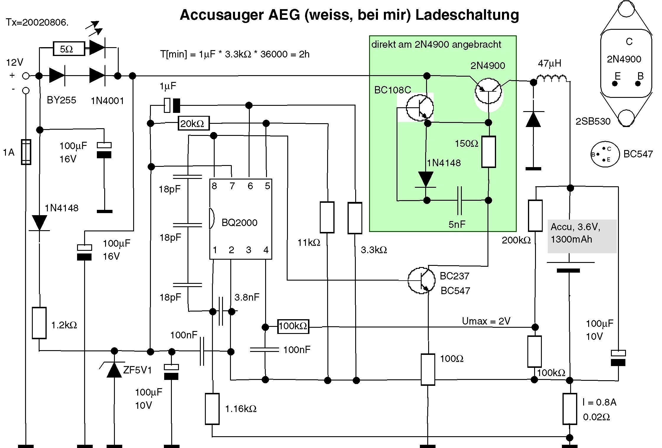 Ladeschaltung Akku-Tischstaubsauger